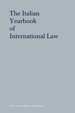 Cover The Italian Yearbook of International Law Online