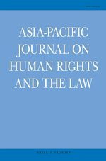 Cover Asia-Pacific Journal on Human Rights and the Law