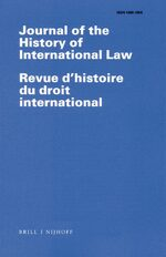 Cover Journal of the History of International Law / Revue d'histoire du droit international