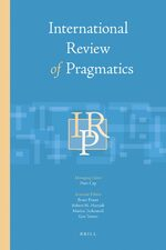 Cover International Review of Pragmatics