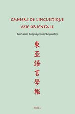 Cover Cahiers de Linguistique Asie Orientale