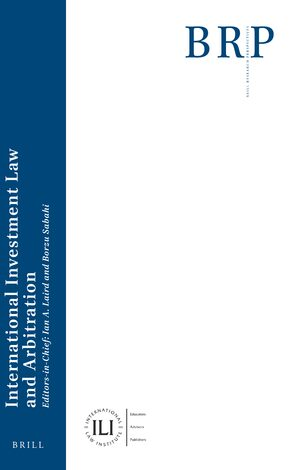 Cover Brill Research Perspectives in International Investment Law and Arbitration