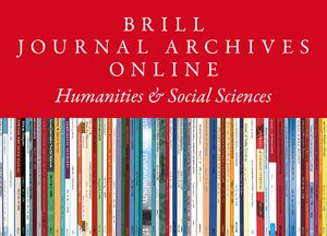 Cover Brill Journal Archives Online Part 1: Humanities & Social Sciences Collection 2020