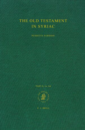Cover The Old Testament in Syriac according to the Peshiṭta Version, Part II Fasc. 1a. Job