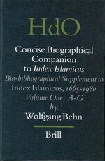 Cover Concise Biographical Companion to Index Islamicus