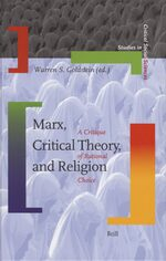 Cover Marx, Critical Theory, and Religion