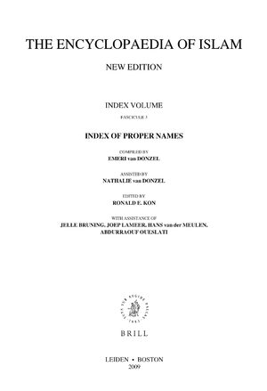 Cover Encyclopaedia of Islam, Index of Proper Names