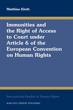 Cover Immunities and the Right of Access to Court under Article 6 of the European Convention on Human Rights