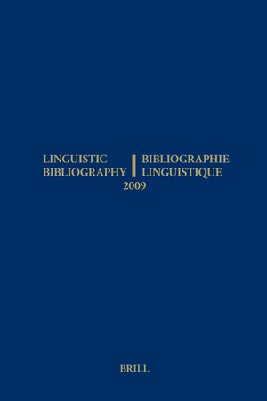 Cover Linguistic Bibliography for the Year 2009 / / Bibliographie Linguistique de l'année 2009