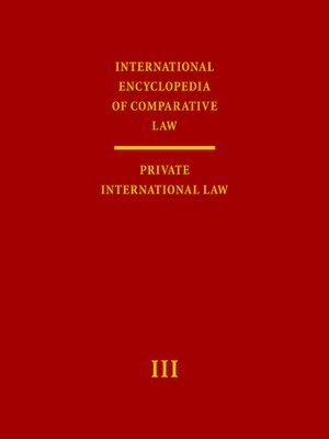Cover International Encyclopedia of Comparative Law, Volume III (2 vols)