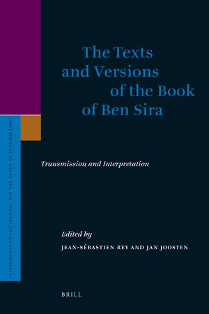 Cover The Texts and Versions of the Book of Ben Sira
