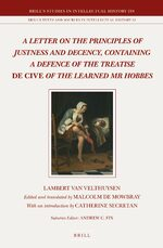 Cover <i>A Letter on the Principles of Justness and Decency, Containing a Defence of the Treatise</i> De Cive <i>of the Learned Mr Hobbes</i>