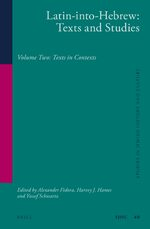 Cover Latin-into-Hebrew: Texts and Studies