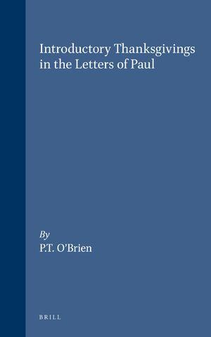 Cover Introductory Thanksgivings in the Letters of Paul