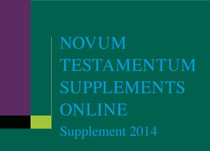 Cover Novum Testamentum Supplements Online, Supplement 2014