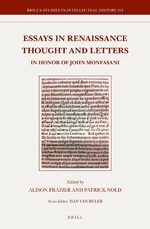 Cover Essays in Renaissance Thought and Letters