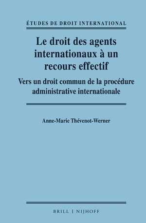 Cover Le droit des agents internationaux à un recours effectif