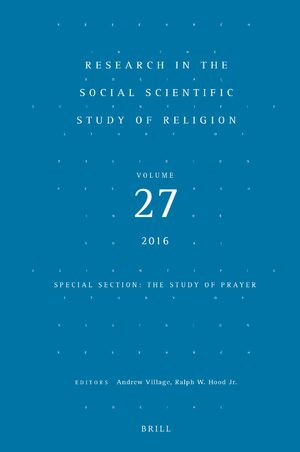Cover Research in the Social Scientific Study of Religion, Volume 27