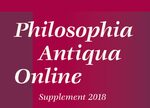 Cover Philosophia Antiqua Online, Supplement 2018