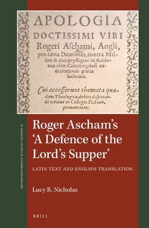 Cover Roger Ascham's 'A Defence of the Lord's Supper'