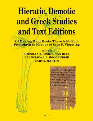 Cover Hieratic, Demotic and Greek Studies and Text Editions
