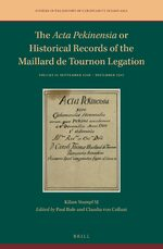 Cover The <i>Acta Pekinensia</i> or Historical Records of the Maillard de Tournon Legation