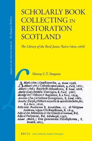 Cover Scholarly Book Collecting in Restoration Scotland