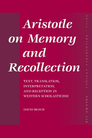 Cover Aristotle on Memory and Recollection