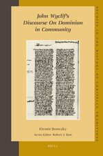 Cover John Wyclif's Discourse on Dominion in Community