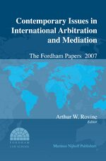 Cover Contemporary Issues in International Arbitration and Mediation: The Fordham Papers (2008)