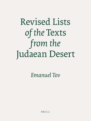 Cover Revised Lists of the Texts from the Judaean Desert