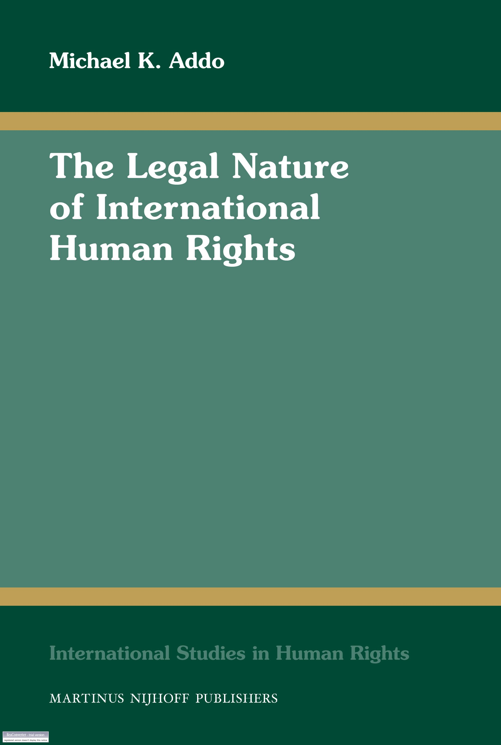 The Legal Nature of International Human Rights   Brill