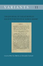 Cover The Journal of the European Society for Textual Scholarship
