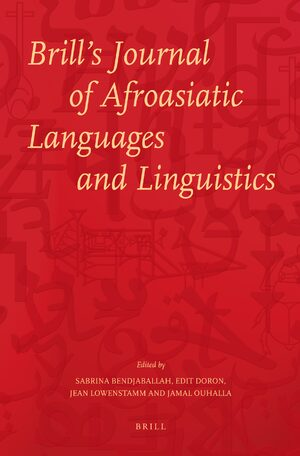 Cover Brill's Journal of Afroasiatic Languages and Linguistics