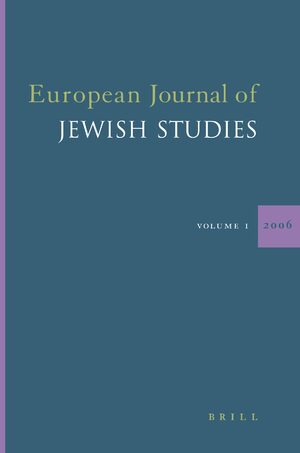 Cover European Journal of Jewish Studies