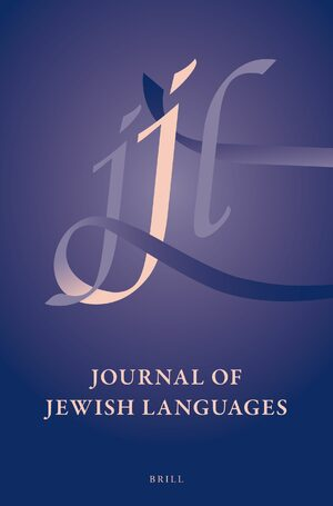 Cover Journal of Jewish Languages