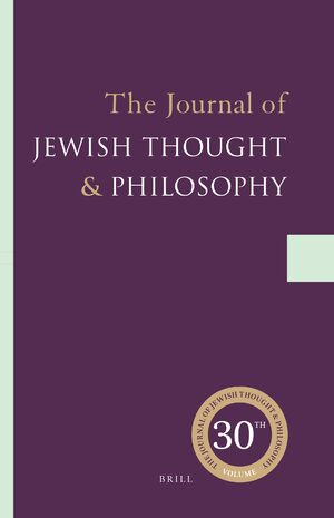 Cover The Journal of Jewish Thought and Philosophy