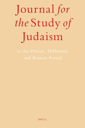 Cover Journal for the Study of Judaism