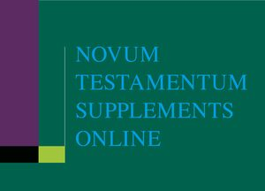 Cover Novum Testamentum Supplements Online, Supplement 2021