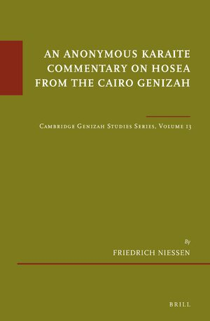 Cover An Anonymous Karaite Commentary on Hosea from the Cairo Genizah