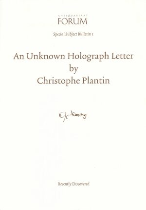 Cover An Unknown Holograph Letter by Christophe Plantin, Recently Discovered