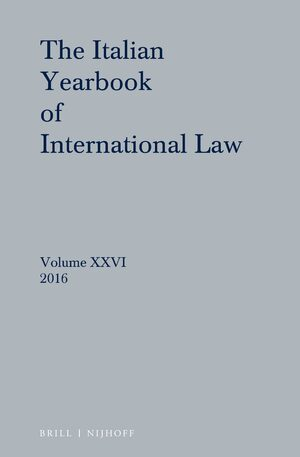 Cover Italian Yearbook of International Law 26 (2016)