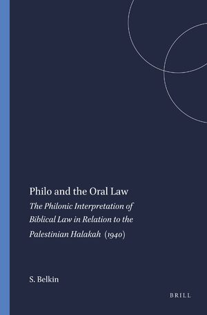 Cover Philo and the Oral Law