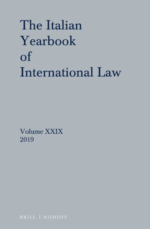 Cover Italian Yearbook of International Law 29 (2019)