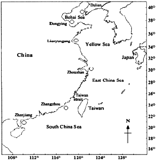 sample locations of portunus trituberculatus (miers, 1876) along the  chinese coast  the locations of the six geographical populations studied  along the