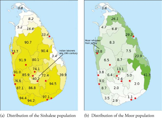 e8df271dfbb4a0 Demographics of Sri Lanka. Dots mark main towns with Malay population. The  Malay population centers are all in the Sinhala speaking area.