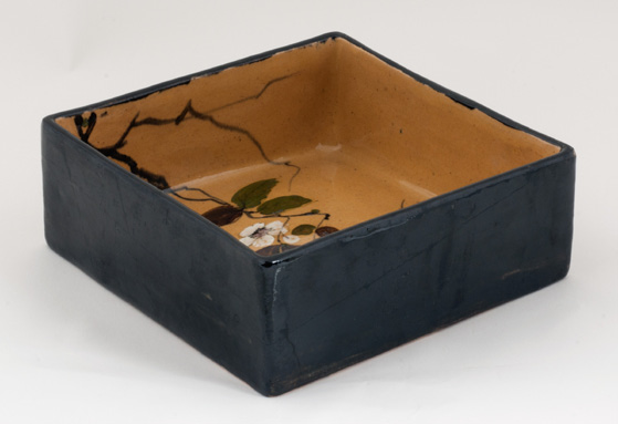 2a4e514f0a Laurin Bourg-la-Reine, glazed earthenware, Square box, slips decoration  inside and black glazing outside, 1873, 5 × 12 × 12 cm, YLA coll.
